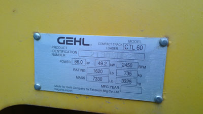 Detail photo of 2007 Gehl CTL60 from Construction Equipment Guide