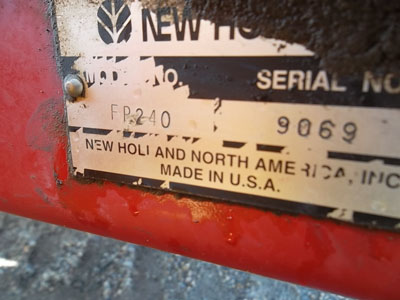 Detail photo of 2001 New Holland FP240 from Construction Equipment Guide