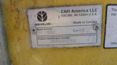 Detail photo of 2006 New Holland 94C-36 from Construction Equipment Guide